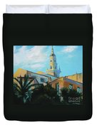 Old Town Tower In Menton Duvet Cover
