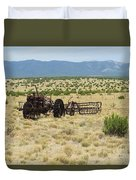 Old Tractor And Rake In New Mexico Duvet Cover