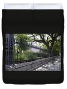 Old Tree And Ornate Fence Duvet Cover