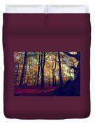 Old Tree Silhouette In Fall Woods Duvet Cover