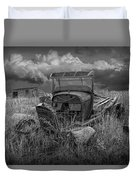 Old Truck Abandoned In The Grass In Black And White At The Ghost Town By Okaton South Dakota Duvet Cover