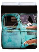 Old Turquoise Truck Duvet Cover
