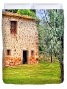 Old Villa And Olive Trees Duvet Cover