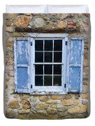 Old Village Window With Blue Shutters Duvet Cover