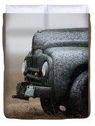 Old Vintage Truck In Winter Storm Saskatchewan Duvet Cover