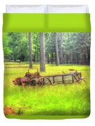 Old Wagon In Field Duvet Cover