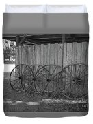 Old Wagon Wheels Black And White Duvet Cover