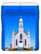 Old Weathered Church On Hill Top Duvet Cover