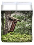 Old Weathered Worn Bird House In Summer Duvet Cover