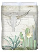 Old West Cactus Garden W Longhorn Cow Skull N Succulents Over Wood Duvet Cover