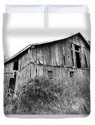Old West Virginia Barn Black And White Duvet Cover