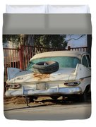 Old White Plymouth In Natural Sunset Duvet Cover