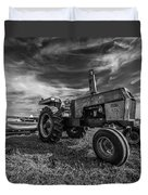 Old White Tractor In The Field Duvet Cover