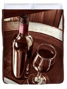 Old Wine Bottle And Glass In Rustic Wine Cellar Duvet Cover