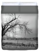 Old Winter Tree Grayscale Duvet Cover