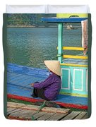 Old Woman On A Colorful River Boat Duvet Cover