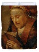 Old Woman Praying Duvet Cover