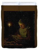 Old Woman Reading, Adriaan Meulemans, 1800 - 1833 Duvet Cover