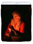 Old Woman With A Candle Duvet Cover