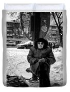 Old Women Selling Woollen Socks On The Street Monochrome Duvet Cover