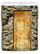 Old Wood Door And Stone - Vertical  Duvet Cover