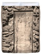 Old Wood Door  And Stone - Vertical Sepia Bw Duvet Cover