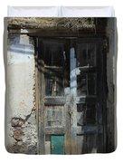 Old Wood Door In A Wall Duvet Cover