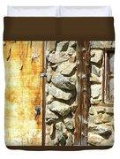 Old Wood Door Window And Stone Duvet Cover