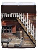 Old Wooden Cabin Log Detail Duvet Cover