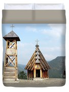 Old Wooden Church And Bell Tower Duvet Cover
