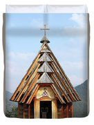 Old Wooden Church On Mountain Duvet Cover