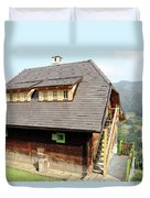 Old Wooden House On Mountain Duvet Cover