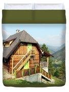 Old Wooden House On Mountain Landscape Duvet Cover
