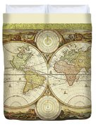 Old World Map On Gold Duvet Cover