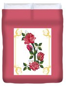 Olde Rose Pink With Leaves And Tendrils Duvet Cover
