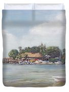 O' Leary's Tiki Bar And Grill On Sarasota Bayfront Duvet Cover