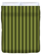 Olive Green Striped Pattern Design Duvet Cover