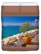 Olive Tree In Barrel By The Sea Duvet Cover