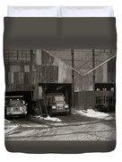 Olyphant Pa Coal Breaker Loading Trucks And Gondola Car Winter 1971 Duvet Cover