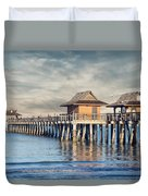 On A Cloudy Day At Naples Pier Duvet Cover