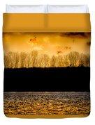 On A Golden Lake Duvet Cover