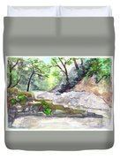 On A Mountain River Duvet Cover