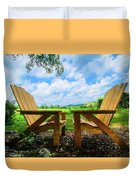On A Pretty Summer Day Oil Painting Duvet Cover
