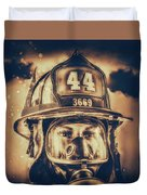 On Duty And Into Fire_dramatic Duvet Cover