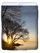 On Fire - Bright Sunrise Through The Willows Duvet Cover