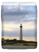 On The Beach At Cape May Lighthouse Duvet Cover