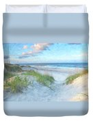 On The Beach Watercolor Duvet Cover by Randy Steele
