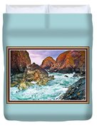 On The Coast Of Cornwall L B With Decorative Ornate Printed Frame. Duvet Cover