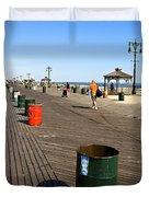 On The Coney Island Boardwalk Duvet Cover