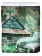 On The Edge Of The Green Mountains Painting Duvet Cover